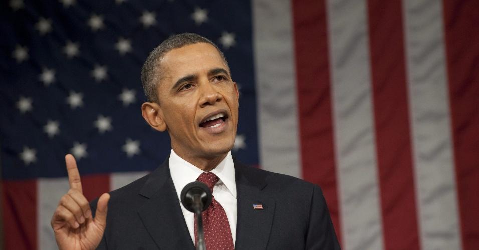 O presidente dos EUA, Barack Obama, faz balanço da atual situação econômica americana, em discurso no Congresso, e elogia retorno à liderança da indústria automotiva local 24.1.2012