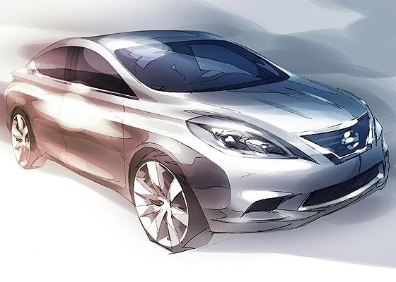 <b>Esboço do Nissan Versa, que pode estrear nos EUA: visual ficaria mais fluido</b> - Divulgação