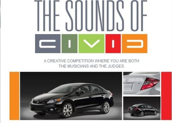 Acima, imagem de divulgação da campanha do Honda Civic 2012 no Facebook - Reprodução